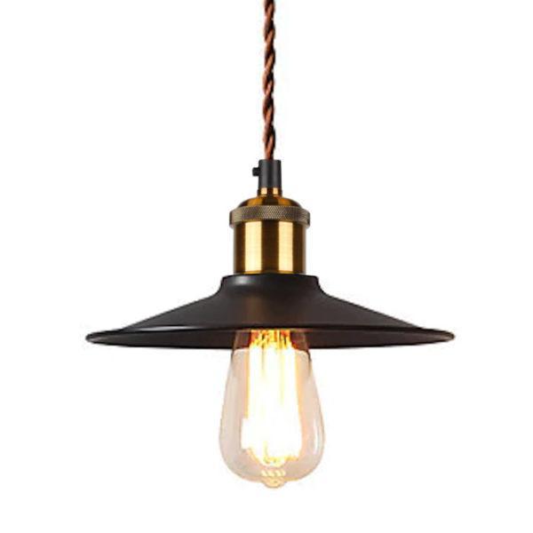 Historické závesné svietidlo s čiernym tienidlom a hnedým skrúteným káblom