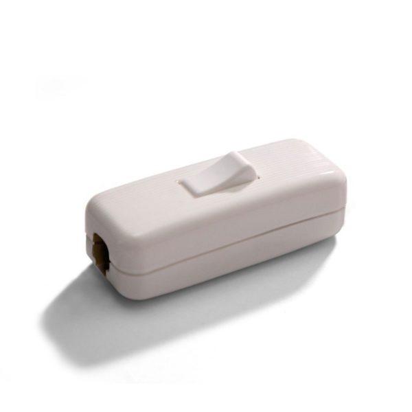 Unipolárny tlačidlový prepínač biely pre okrúhle káble-