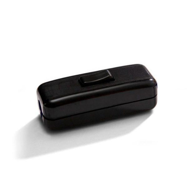 Unipolárny tlačidlový prepínač čierny pre okrúhle káble