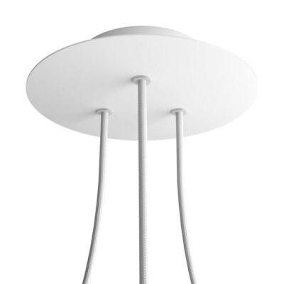 Okrúhla kovová stropná rozeta s priemerom 20 cm a 3 otvormi