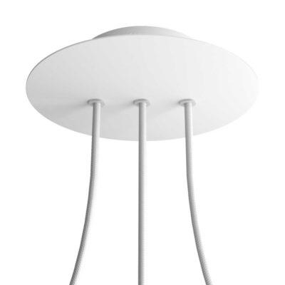 Okrúhla kovová stropná rozeta s priemerom 20 cm a 3 otvormi v rade