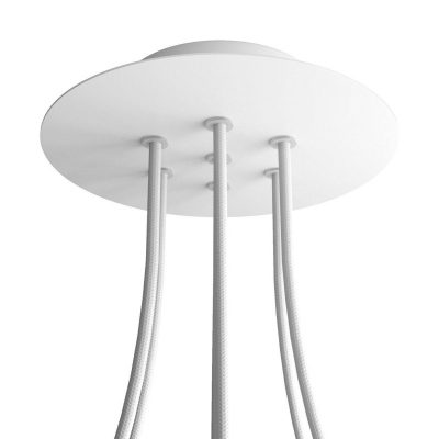 Okrúhla kovová stropná rozeta s priemerom 20 cm a 7 otvormi
