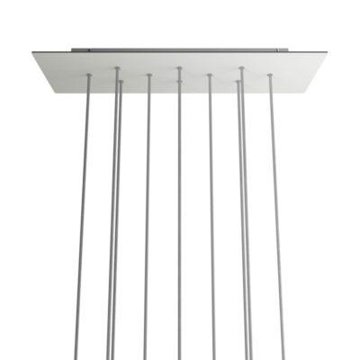 XXL Obdĺžniková kovová stropná rozeta s rozmerom 67 x 22 cm s 10 otvormi