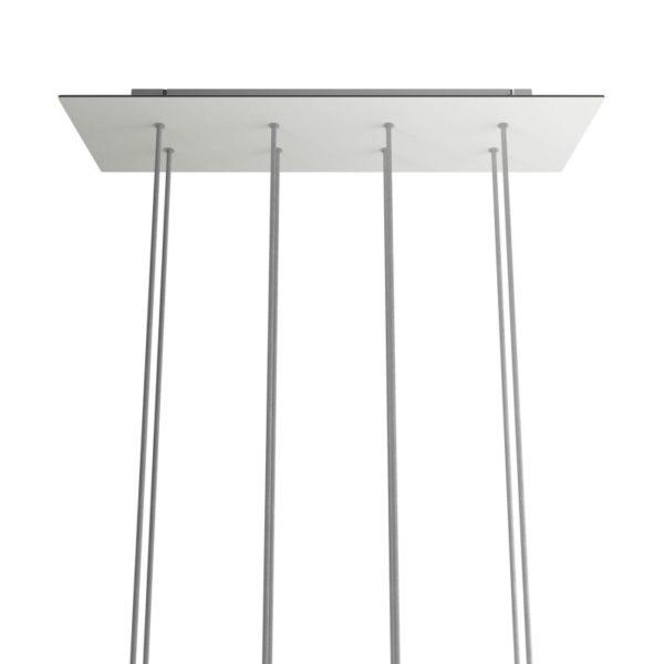 XXL Obdĺžniková kovová stropná rozeta s rozmerom 67 x 22 cm s 8 otvormi