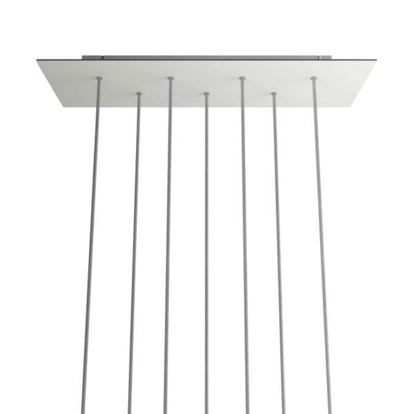 XXL Obdĺžniková kovová stropná rozeta s rozmerom 67 x 22 cm so 7 otvormi