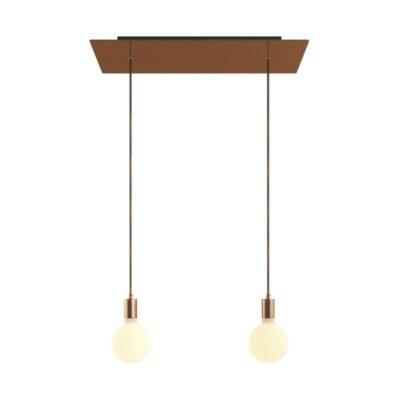 2-svetelné závesné svietidlo so 675 mm obdĺžnikovou rozetou v saténovej medenej farbe