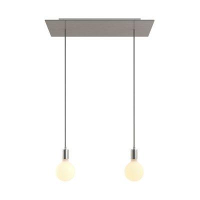 2-svetelné závesné svietidlo so 675 mm obdĺžnikovou rozetou v saténovej oceľovej farbe