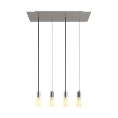 4-svetelné závesné svietidlo so 675 mm obdĺžnikovou rozetou SATIN STEEL / CHROME
