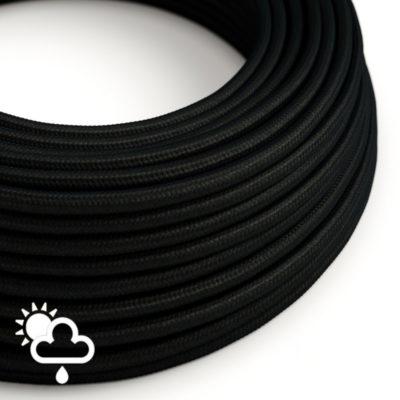 Kábel do exteriéru dvojžilový v podobe textilnej šnúry v čiernej farbe
