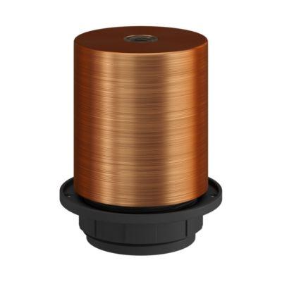 Kovová objímka pre tienidlo so skrytou káblovou svorkou v brúsenej medenej farbe,