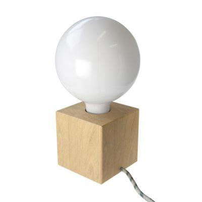 Stolová drevená lampa Cube z prírodného dreva s textilným káblom Anthracite:Natural