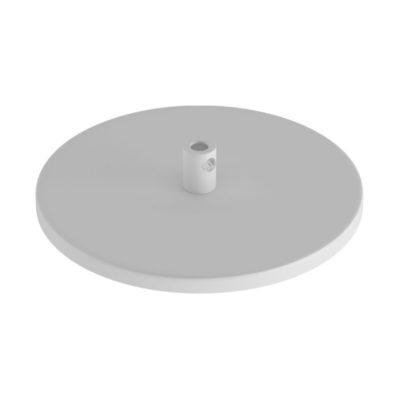 Zapustená stropná rozeta s 1 stredovým otvorom v bielej farbe.