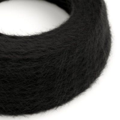 Kábel dvojžilový skrútený s chlpatým efektom v čiernej farbe, 2 x 0.75mm, 1 meter