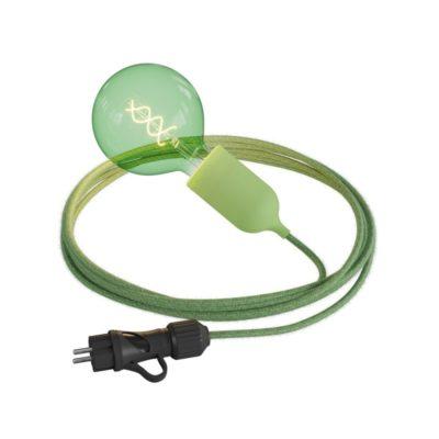 Svietidlo do exteriéru s pastelovou zelenou objímkou IP65 so zástrčkou IP44, zelený 5m kábel