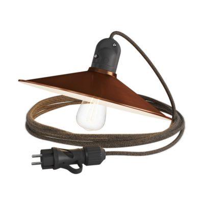 Závesné svietidlo do exteriéru s brúseným medeným tienidlom IP65 so zástrčkou IP44, čierny 5m kábel