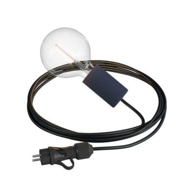 Závesné svietidlo do exteriéru s karbónovou čiernou objímkou IP65 so zástrčkou IP44, čierny 5m kábel