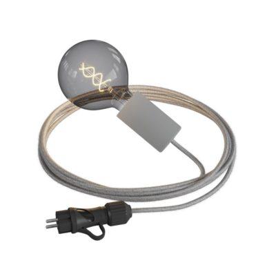 Závesné svietidlo do exteriéru so sivou objímkou IP65 so zástrčkou IP44, šedý 5m kábel