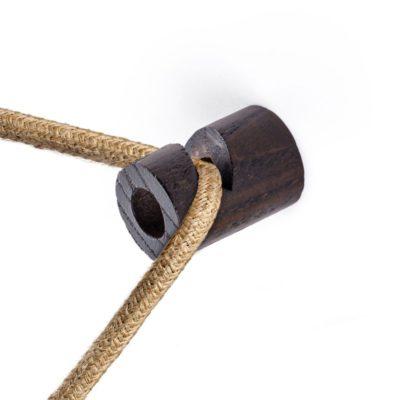 Decentralizér - stropný alebo nástenný háčik pre textilné káble z dreva vo wenge farbe