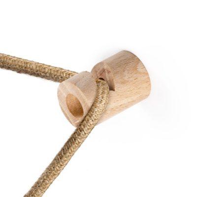 Decentralizér - stropný alebo nástenný háčik pre textilné káble z prírodného dreva.