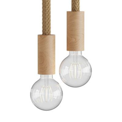 Drevené závesné svietidlo pre 2 žiarovky s 24mm káblom, dekoračná juta