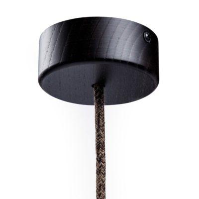 Mini Drevená jednoduchá stropná rozeta pre textilné káble vo wenge farbe
