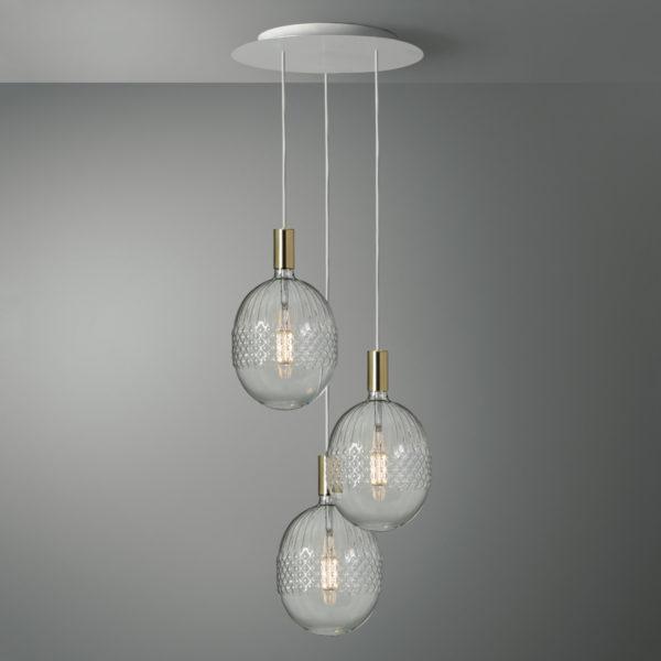 3-svetelné závesné svietidlo ROMA s kryštálovými žiarovkami BELLALUCE D210