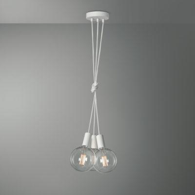 Závesné svietidlo PISA s tromi päticami v bielej farbe so žiarovkami XXL G155