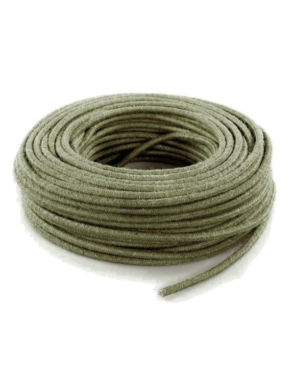 Kábel dvojžilový v podobe retro lana, kôrová zelená juta, 2 x 0.75mm, 1 meter.