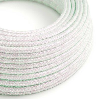 Kábel s trblietavým povrchom, Umelý hodváb, Biela dúhová farba, 2 x 0.75mm, 1 meter