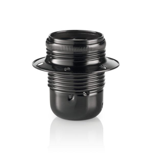Retro kovová objímka v čiernej perleťovej farbe s dekoračným krúžkom