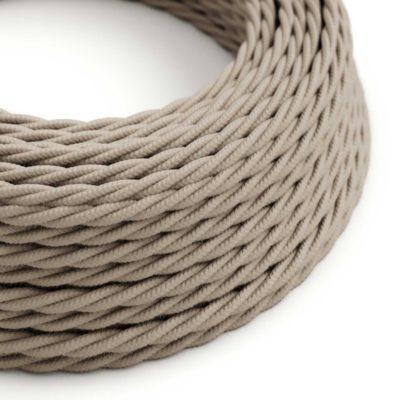 Elektrický kábel dvojžilový potiahnutý bavlnou v Dove farbe, 2 x 0.75mm, 1 meter.