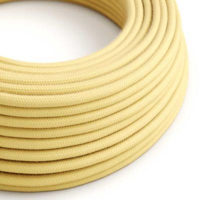 Elektrický kábel dvojžilový potiahnutý bavlnou v bledo žltej farbe, 2 x 0.75mm, 1 meter