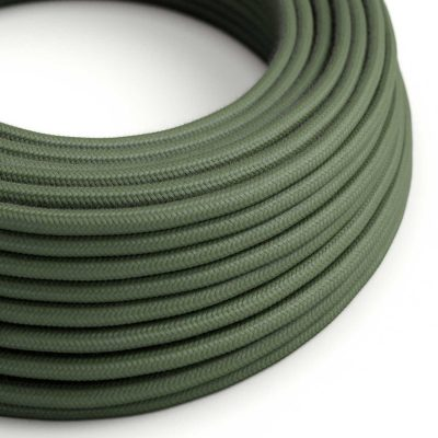 Elektrický kábel dvojžilový potiahnutý bavlnou v zeleno sivej farbe, 2 x 0.75mm, 1 meter