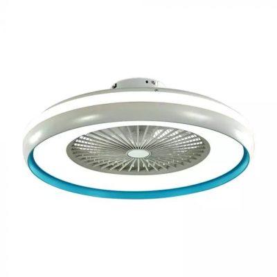 Stropný ventilátor so svietidlom a diaľkovým ovládačom v modrom prevedení
