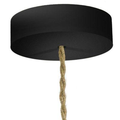 Drevená jednoduchá stropná rozeta pre textilné káble v čiernej farbe