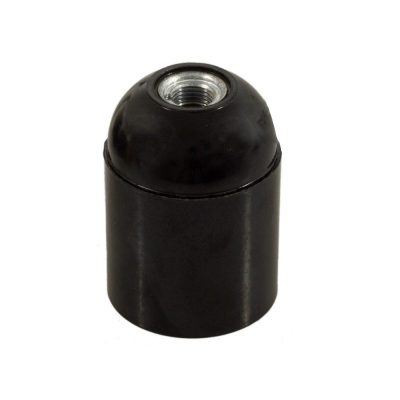 E27 hladká objímka z bakelitu, čierna farba