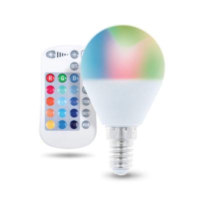 LED žiarovka E14 s diaľkovým ovládaním G45, RGB, 5W, Teplá biela.