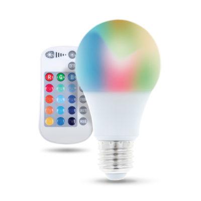 LED žiarovka E27 s diaľkovým ovládaním RGB, 9W, Teplá biela