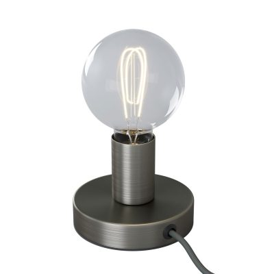 Kovová stolná lampa s textilným káblom, vypínačom a dvojpólovou zástrčkou - brúsený titán