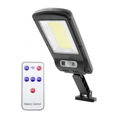 LED nástenné solárne svietidlo s pohybovým senzorom a IR ďiaľkovým ovládaním, 5W, IP65, 500lm
