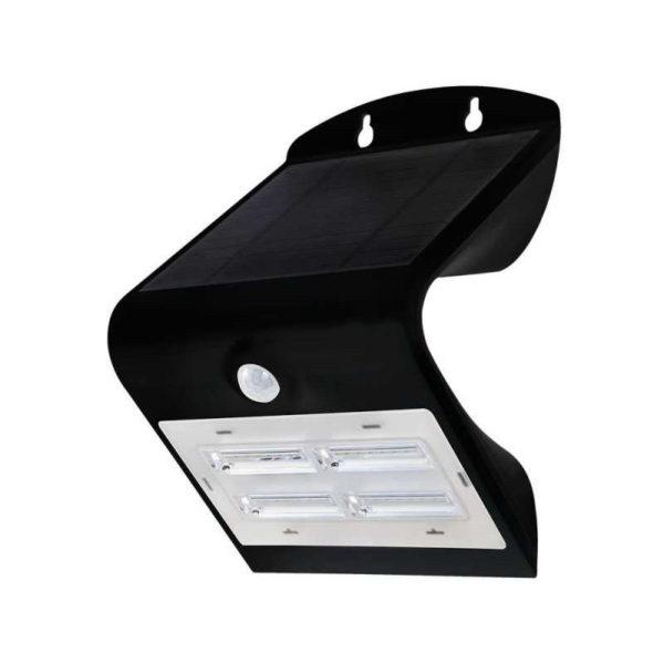 LED solárne nástenné svietidlo v čiernej farbe, Teplá - Denná biela, 3W, IP65, 400lm