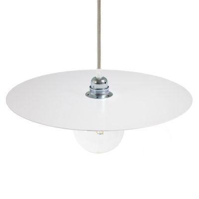Lakované okrúhle kovové tienidlo v bielej farbe, priemer 40cm