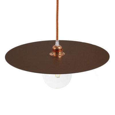 Lakované okrúhle kovové tienidlo v hrdzavej farbe, priemer 40cm