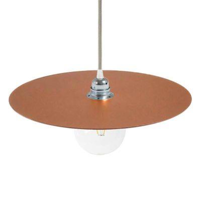 Lakované okrúhle kovové tienidlo v medenej farbe, priemer 40cm