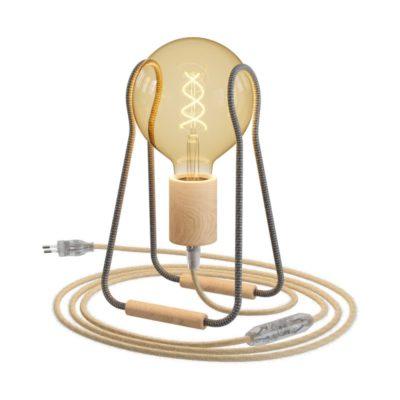 Taché stolná drevená lampa s textilným káblom, vypínačom a zástrčkou, ZigZag/jute